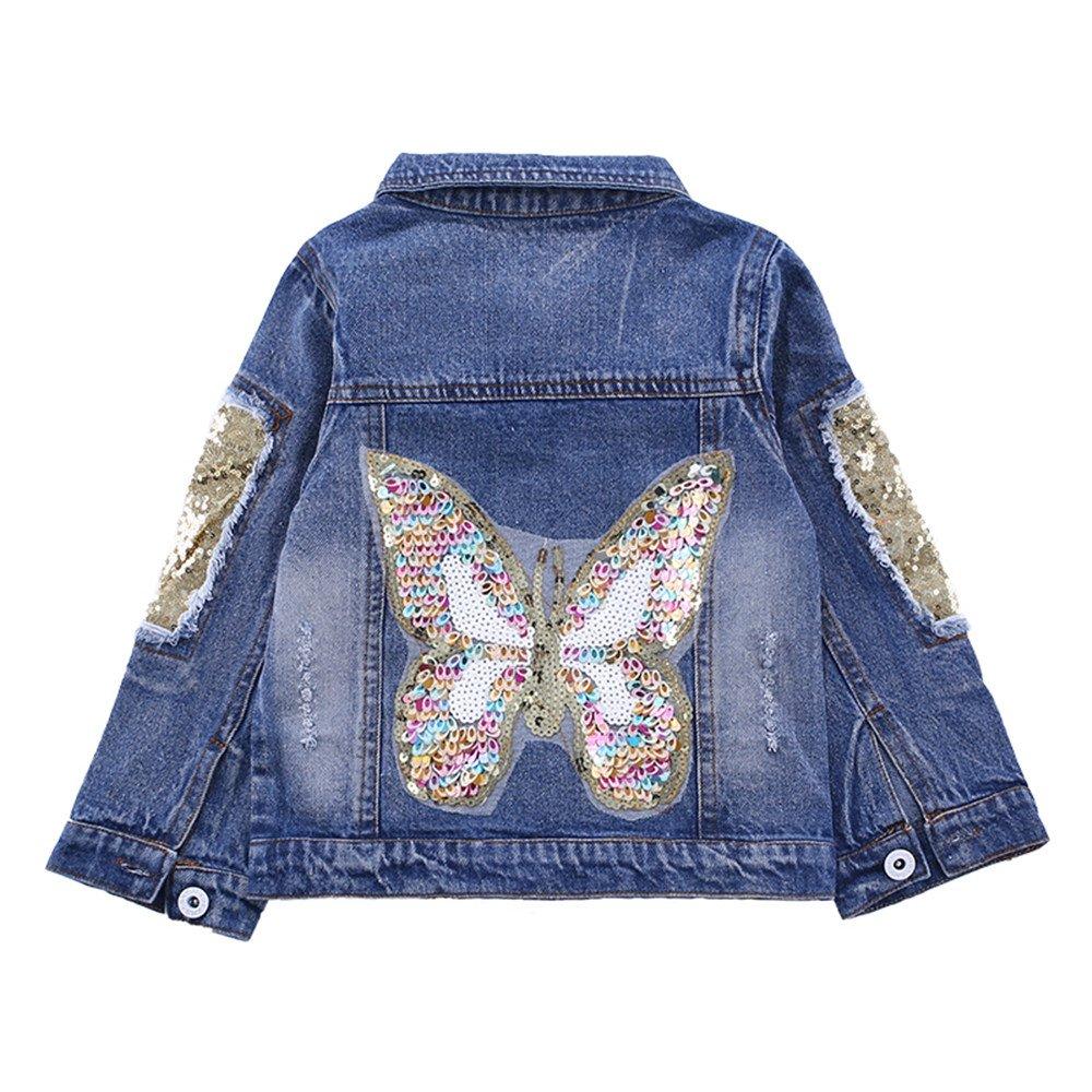 Star Flower Little Big Girls Denim Jackets Coats Outwear (8, Blue(Butterfly))