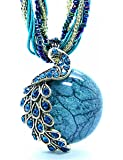 LIKEOY Vintage Bohemia Vivid Peacock Pendant Necklace with Opal Crystal