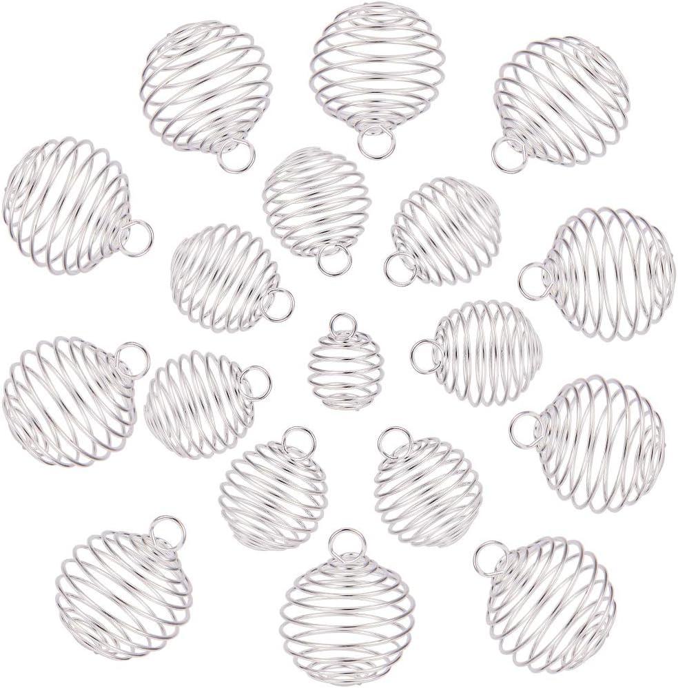 SUNNYCLUE 30 unids Hierro Redondo Espiral Bead Jaula Colgantes Titular de Piedra de Lava para El Collar Pulsera Pendiente Joyería de DIY Que Hace, Plata Plateada