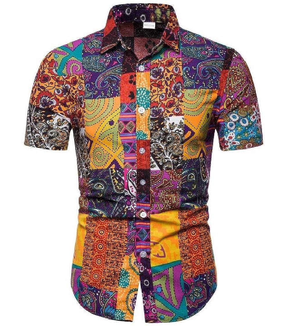 Nanquan Men Button Up Casual Short Sleeve Printed Big /& Tall Slim Ethnic Shirts