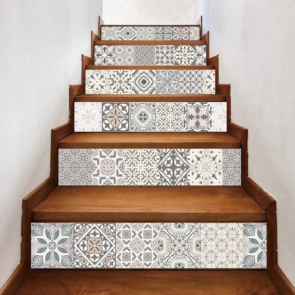 3D Stair Wall Stickers Home Decor Staircase Decal Stair Mural Decals Stair Decal Stickers for Kitchen Stairs Bathroom Removable Self-adhesive Staircase Stickers Pawaca Stair Stickers