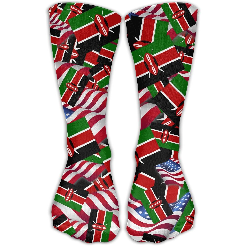 Kenya Flag With America Flag Casual Socks Crew Socks Crazy Socks Soft Breathable For Women Sports Athletic Running