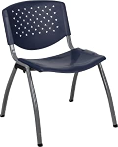 Flash Furniture HERCULES Series 880 lb. Capacity Navy Plastic Stack Chair with Titanium Gray Powder Coated Frame