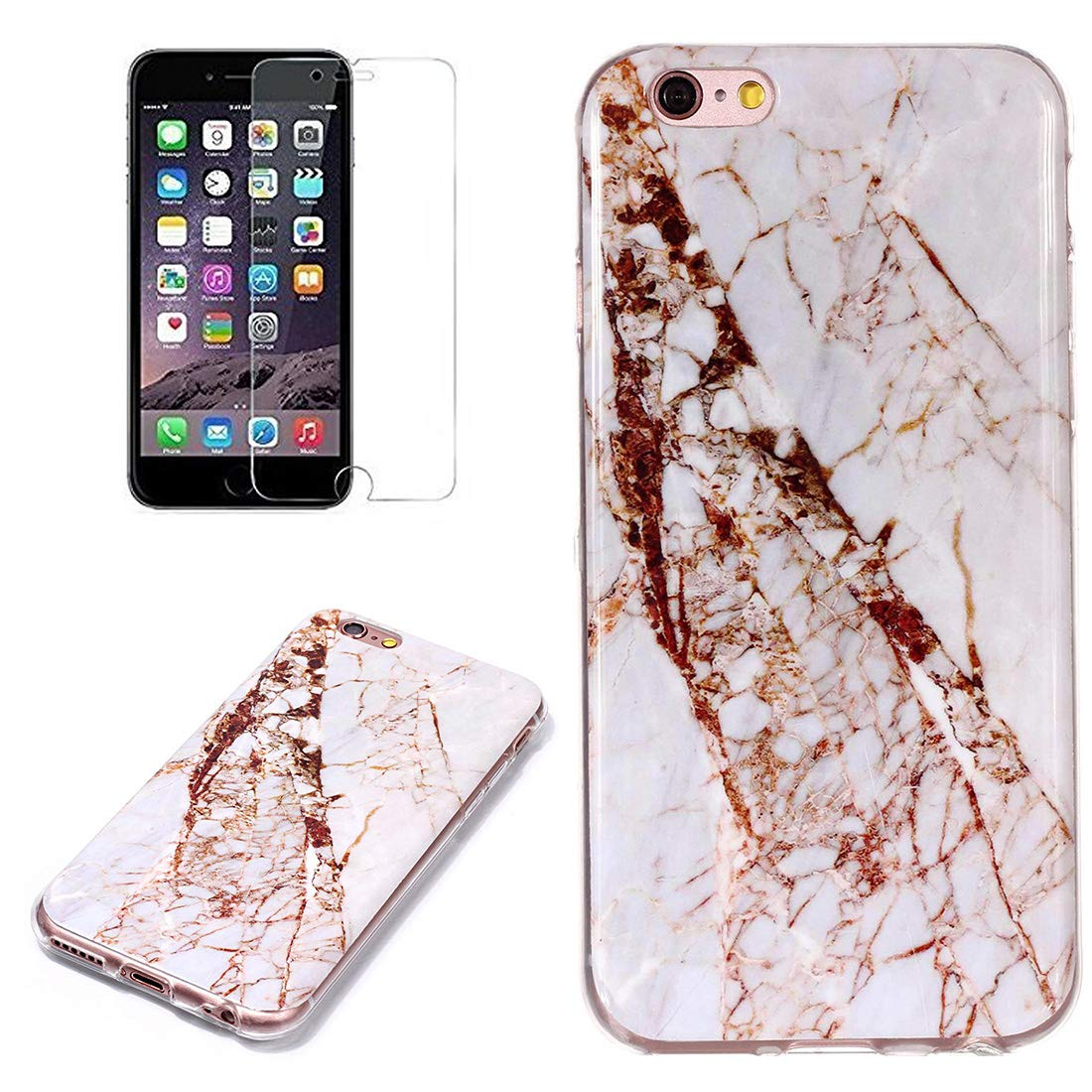 for iPhone 5/5S iPhone SE Marble Case with Screen Protector,Unique Pattern Design Skin Ultra Thin Slim Fit Soft Gel Silicone Case,QFFUN Shockproof Anti-Scratch Protective Back Cover - White by QFFUN (Image #1)