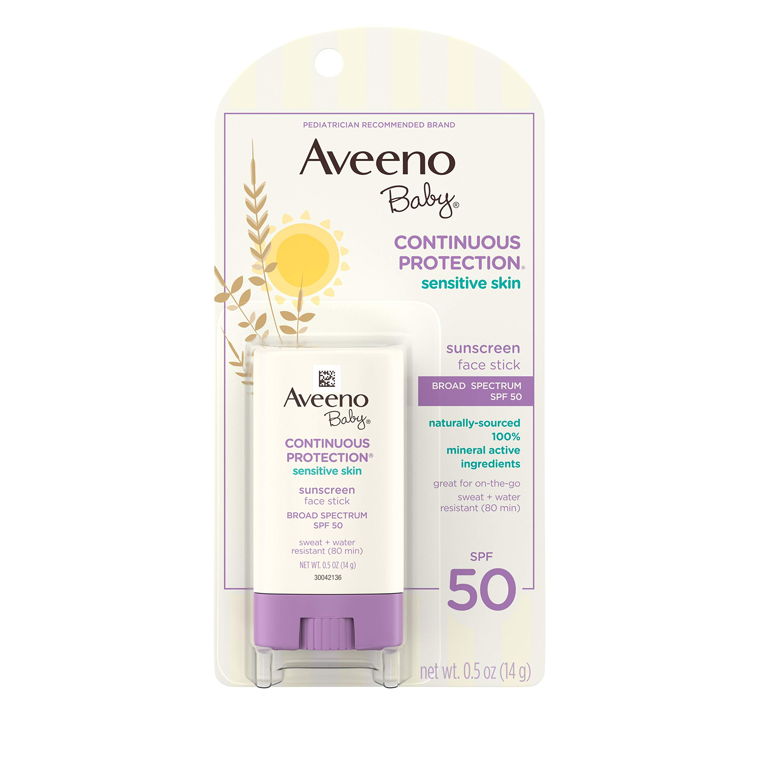 Aveeno Baby Continuous Protection Sensitive Skin Mineral Sunscreen Stick for Face with Broad Spectrum SPF 50, Zinc Oxide & Titanium Dioxide, Oil-Free & Water-Resistant, Travel-Size, 0.5 oz (Pack of 2)
