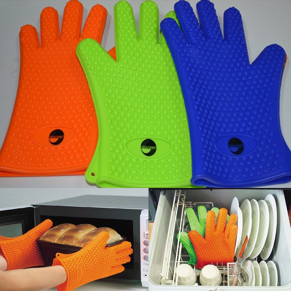 Birmion Heat Resistant Silicone Cooking and Bbq Gloves Pair- Green by Birmion