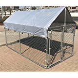ChickenCoopOutlet Large Outdoor Chain Link Dog Kennel Enclosure Exercise Pen Run with Cover