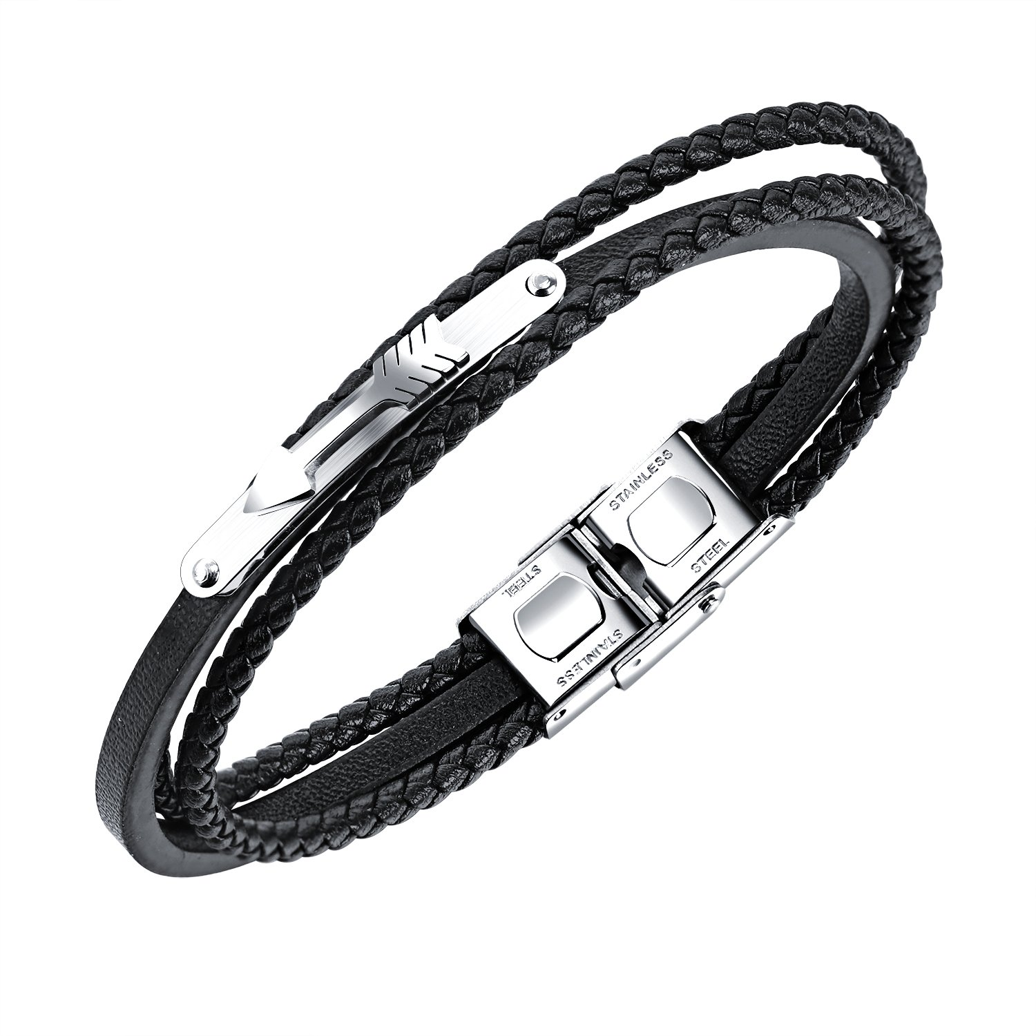 ANAZOZ Stainless Steel Silvery Cuff Bangle Red Charm Bracelet Love Leather Mens Jewelry