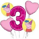 Peppa Pig Balloon Bouquet 3rd Birthday 5 Pcs