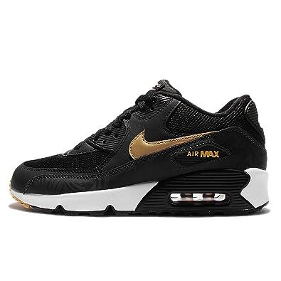 Nike Kid's Air Max 90 Print Mesh Gs, BlackMetallic Gold