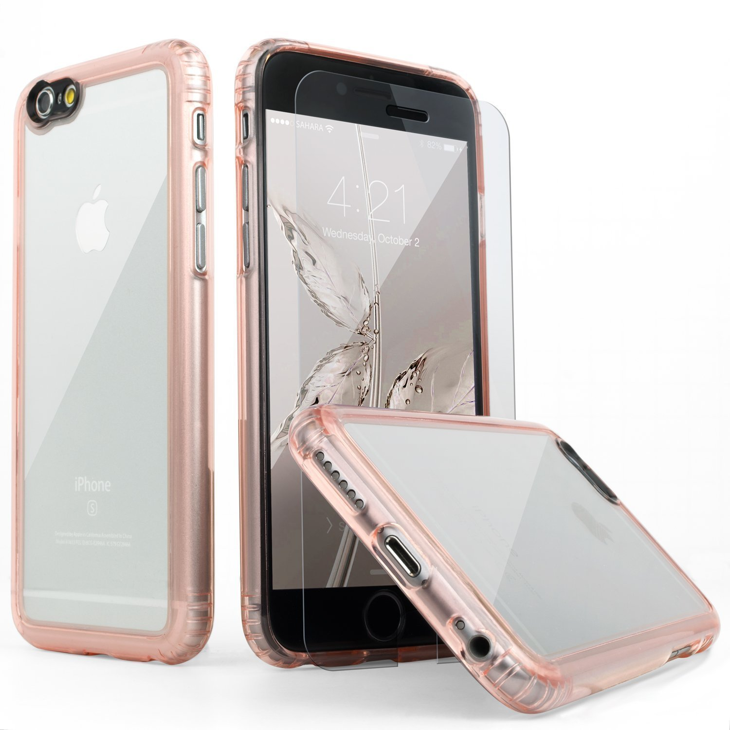 best loved 6ba43 514d1 iPhone 6 Plus Case, SaharaCase Clear Rose Gold + Tempered Glass Screen  Protector for Apple iPhone 6s Plus & 6 Plus [Trusted Apple Screen  Protective ...