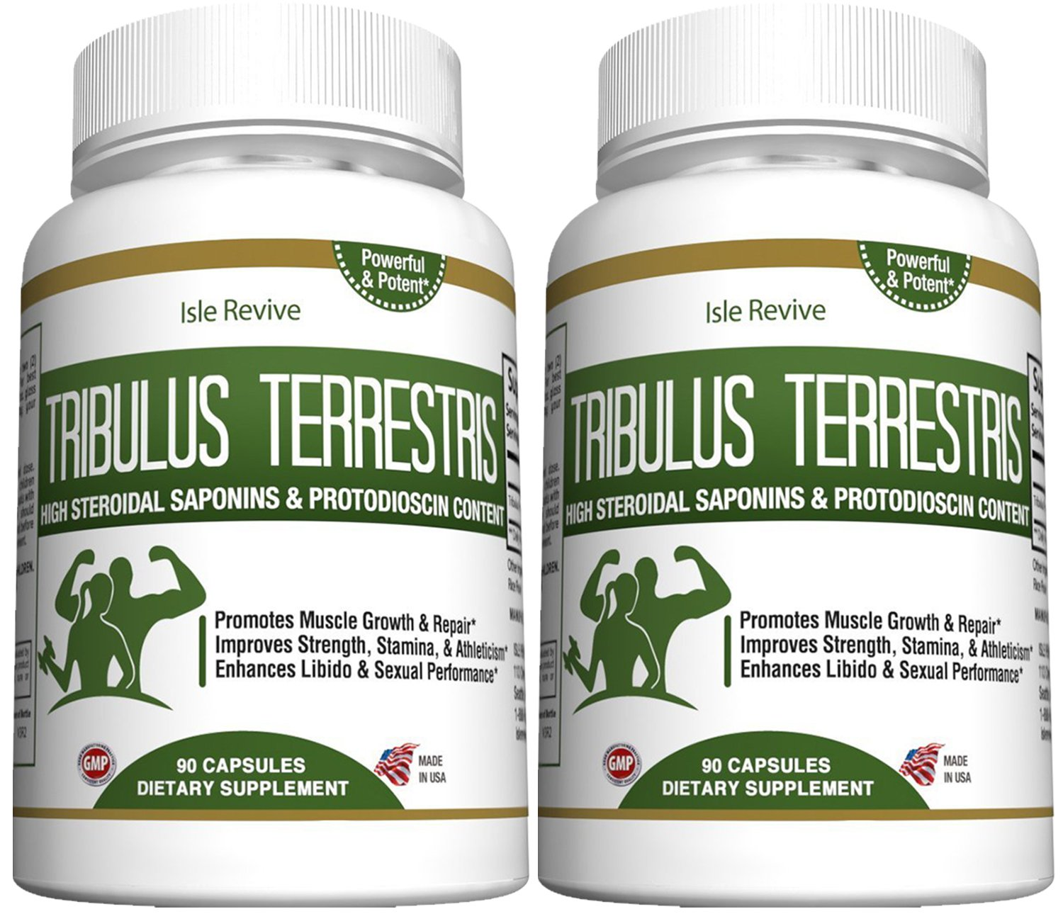 Tribulus Terrestris Testosterone Booster Capsules - Muscle Building Endurance Energy Enhancer Weight Loss 2 Bottles 90 Capsules Made in USA