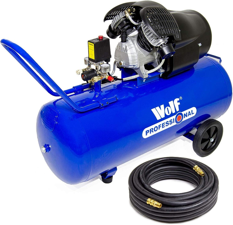 10m Air Hose Wolf Cheyenne 100L Air Compressor V-Twin 3HP 14.6CFM 8BAR 116psi 230V Oil Lubricated