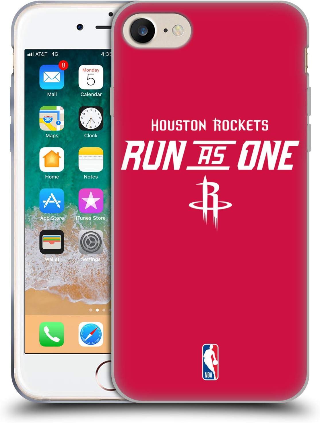 Head Case Designs Oficial NBA Los Cohetes corren como uno Eslóganes del Equipo 2018/19 Carcasa de Gel de Silicona Compatible con Apple iPhone 7 / iPhone 8 / iPhone SE 2020