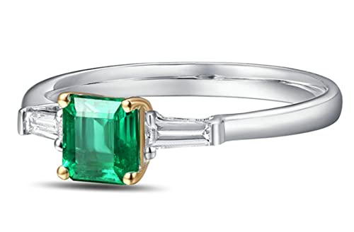 Epinki 18k Oro Anillo para Mujer Cuadrado Anillo de Diamante Anillos Compromiso con Blanco Verde Diamante Esmeralda: Amazon.es: Joyería