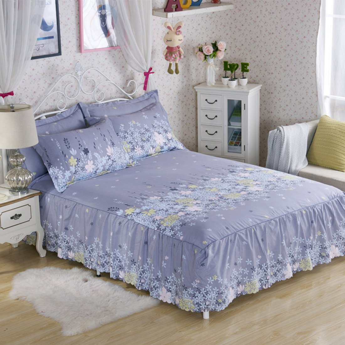 HBOS Ruffled Three Sides Wrap with Platform Pattern Bed Skirt TWo Pillowcases