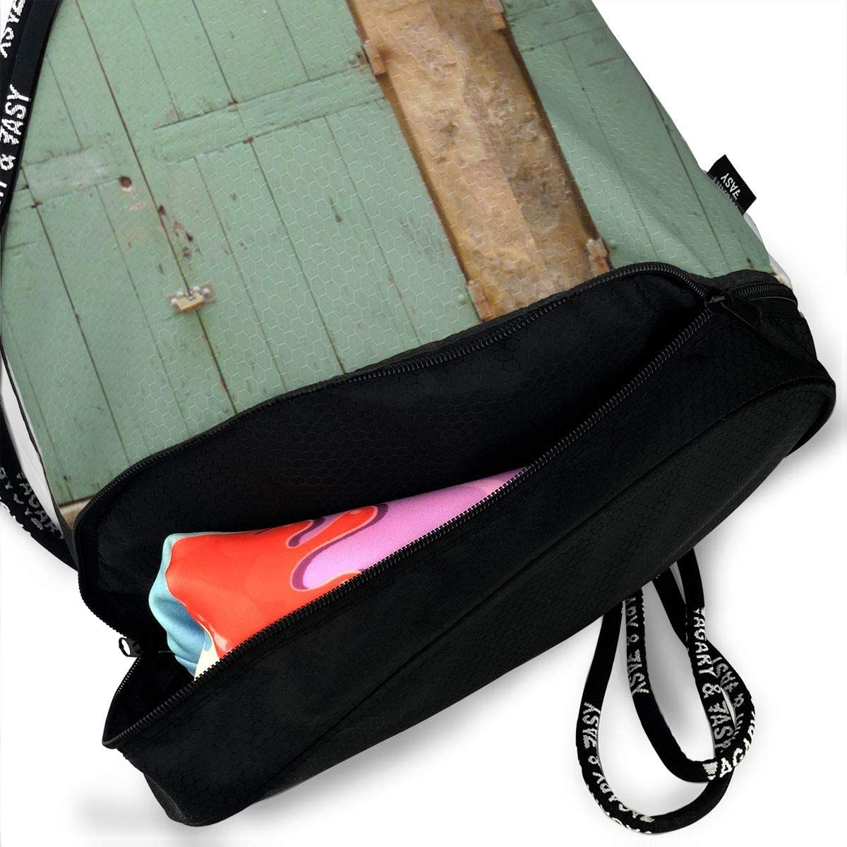 Behind Green Door Drawstring Backpack Sports Athletic Gym Cinch Sack String Storage Bags for Hiking Travel Beach