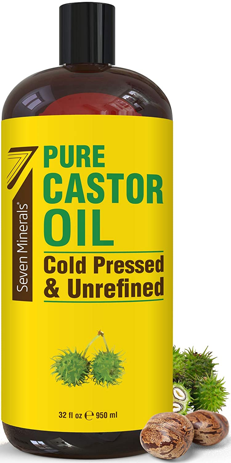 NEW Cold Pressed Castor Oil - Big 32 fl oz Bottle - Unrefined & Hexane Free - 100% Pure Castor Oil for Hair Growth, Thicker Eyelashes & Eyebrows, Dry Skin, Healing, Hair Care, Joint and Muscle Pain