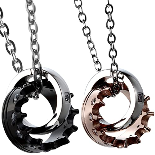 44fc232be Oidea 2pcs Stainless Steel Cubic Zirconia His Queen Her King Crown Pendant  Necklace,Rosegold,