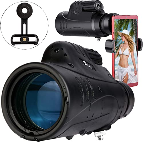 2018 Basic Series TELMU Monocular Telescope 10X42 BAK4 Prism, FMC Monocular Scope Waterproof Fog with One Hand Focus Conpact Monocular for Bird Watching Hunting Camping with a Phone Holder