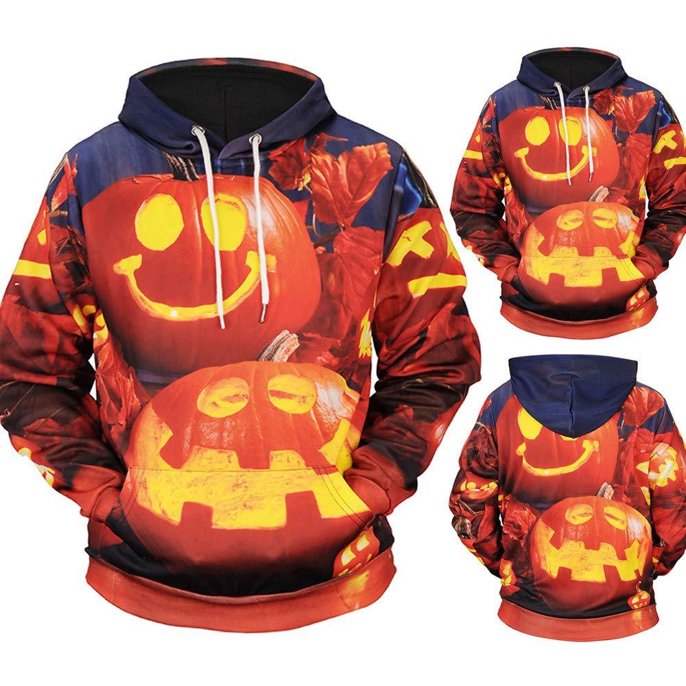 Mens Hoodie Casual Scary Halloween Pumpkin Hoodie Hot Sale,3D Print Party Long Sleeve Hoodie Top Blouse By Farjing (M,Orange)