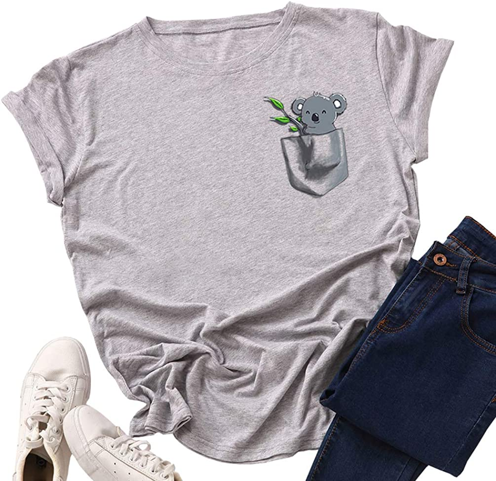 Fpengfashion dise/ño de koala Camiseta de manga corta para mujer