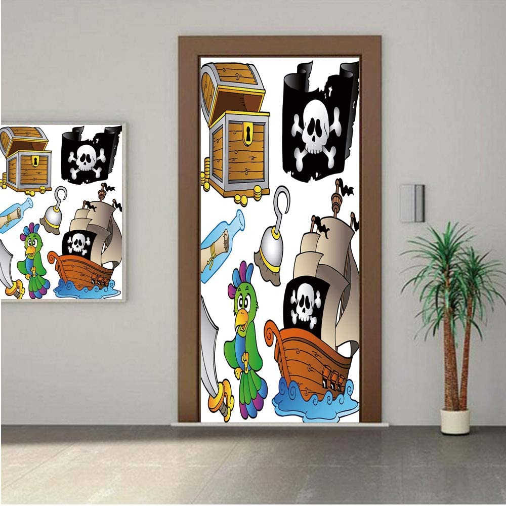 Ylljy00 Pirate Premium Stickers for Door/Wall/Fridge Home DecorPirate Themed Collection Treasure Chest Jolly Roger Flag Ship Cutlass Parrot Cartoon 32x80 ONE Piece Sticky Mural,Decal,Cover,Skin