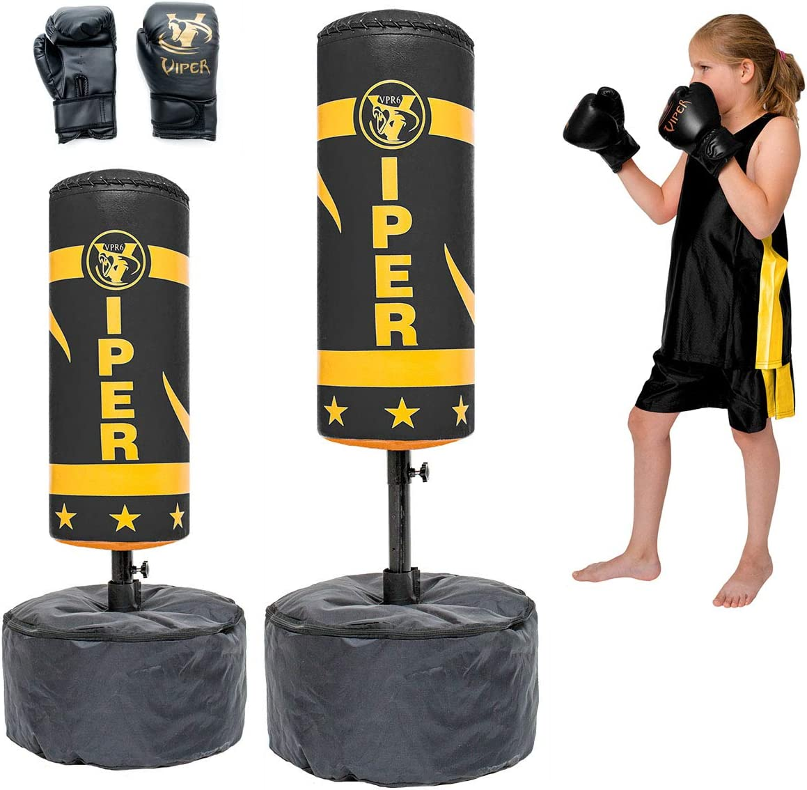 VIPER Freestanding Punch Bag Ball and Gloves MMA Kick Boxing Set