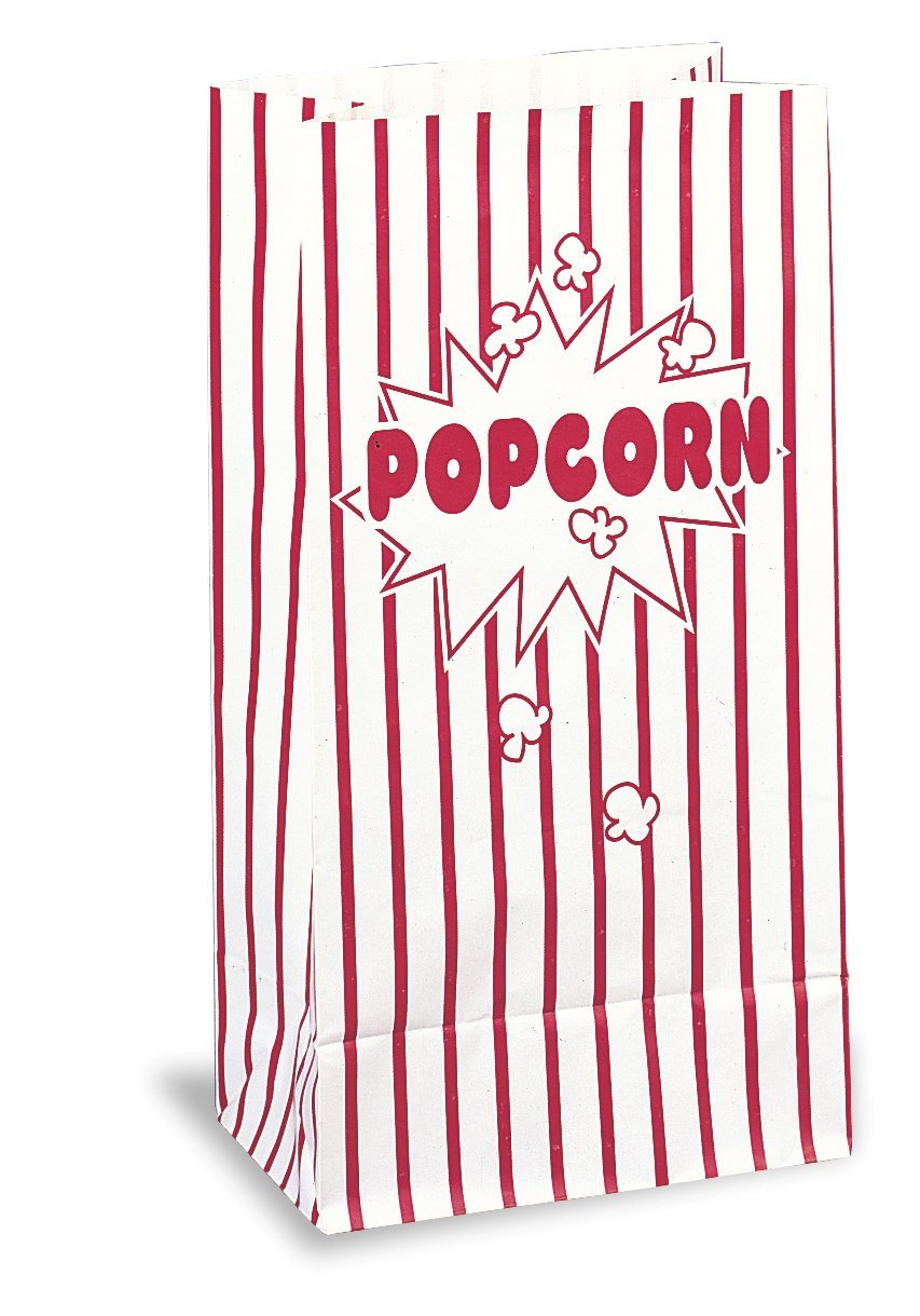 Red & White Striped Paper Popcorn Bags, 10ct