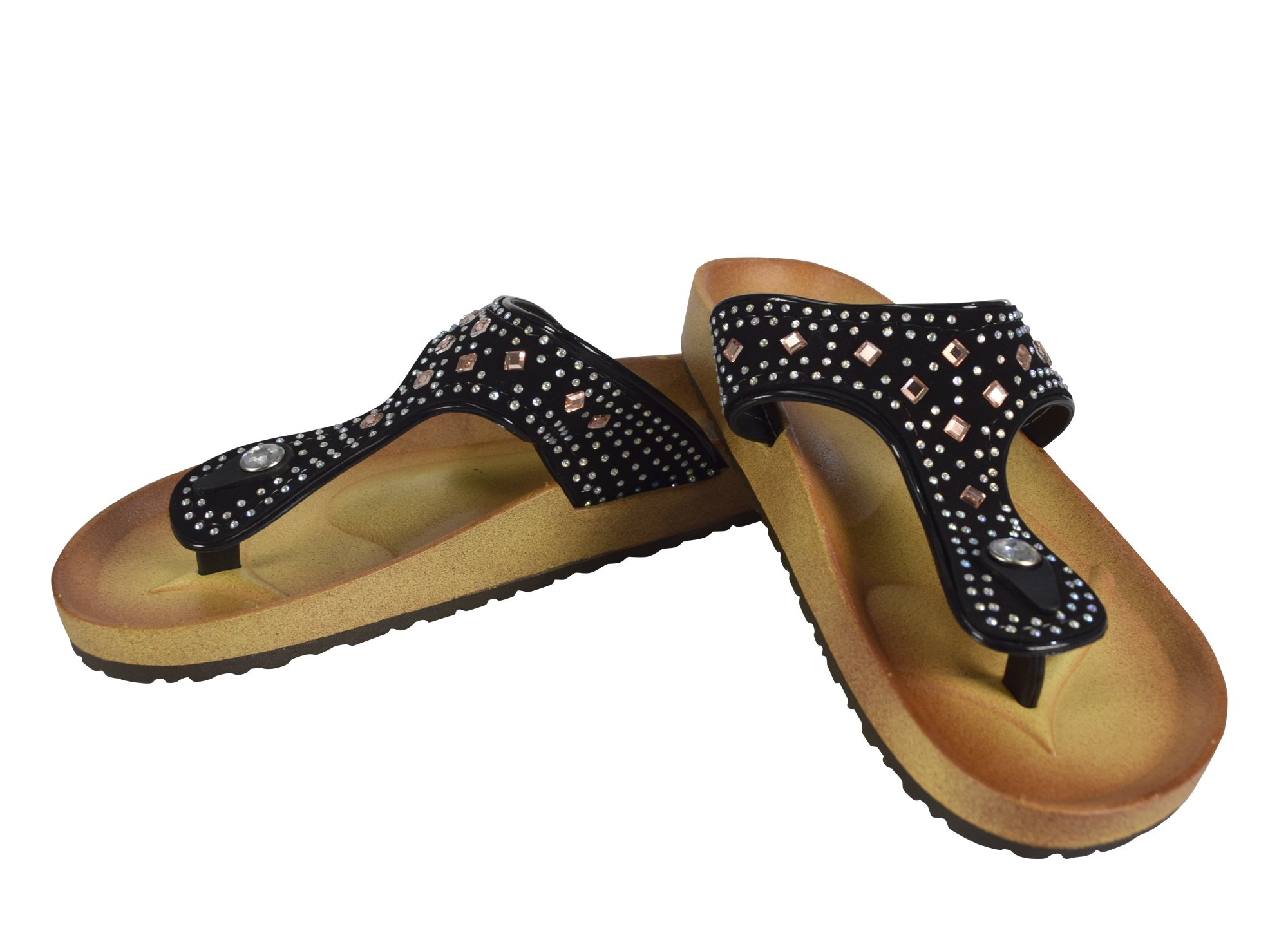 Peach Couture Womens Rhinestone Embellished Thong Flat Slides Summer Sandals (Onyx 10)