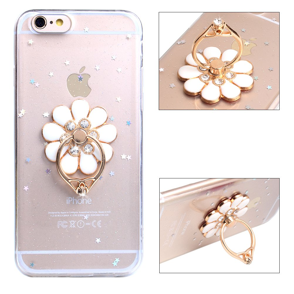 iPhone cover case iphone 8 Case With Ring Holder iPhone 7/8 Mobile Phone Case with Stand, 360 Degrees Swivel Ring Grip Case iphone 7/8 Silicone Case [Glossy Bling Glitter Diamond Crystal Flower Finger Ring Holder Display Stand Holde