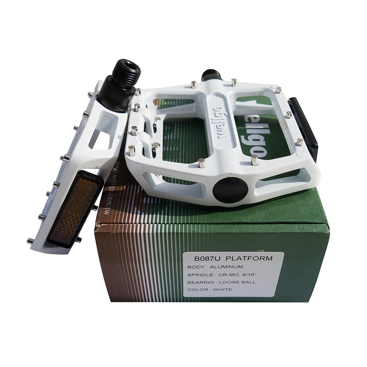 NEW Wellgo b087u Roulement VTT BMX P/édale en aluminium Avec R/éflecteur blanc