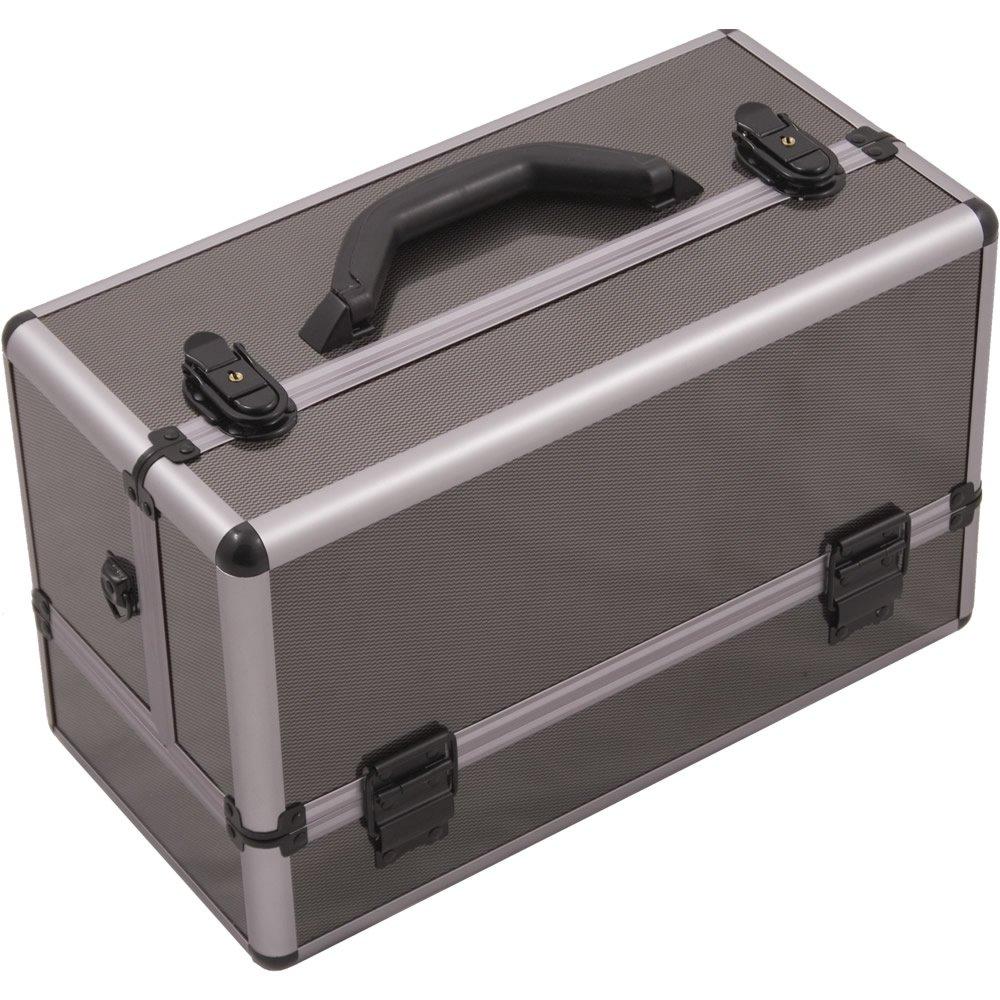Hiker HK3201 Professional Makeup Artist Cosmetic Train Case Organizer Storage 6-Tray 2 Brush Holder, Fiber Gun Metal, 1-Count HK3201ASBY