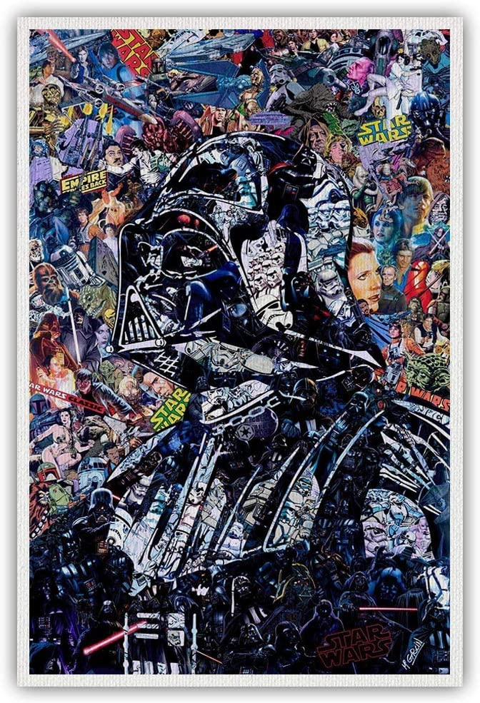 Star Wars Poster Darth Vader Abstract Poster Star Wars Wall Decor For Living Room Decoration Unframed 16x24 Inch, Canvas Rolls (16inx24in-no frame,black)