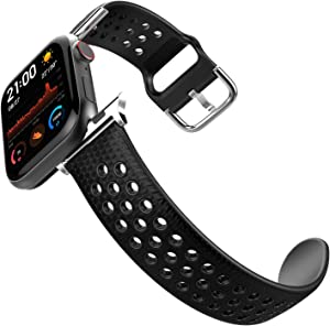 HALLEAST Compatible Apple Watch Band 42mm 44mm for Men, Leather Skin Soft TPU Waterproof Sport iWatch Bands for Series 1/2/3/4/5/6, Check Black