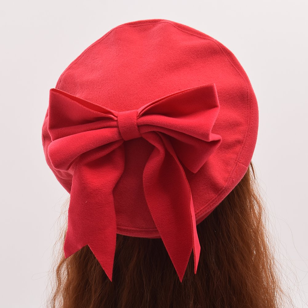 GRACEART Girls Wings Bowknot Embroidery Beret Hat