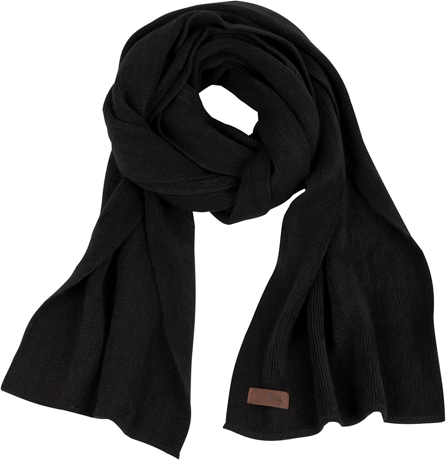 ililily Solid Color Neck Warmer Wide Lightweight Long Scarf scarf-049-2