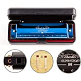 JSL Harmonica, Standard Diatonic Key of C 10 Holes 20 Tones Blues Mouth Organ Harp For Kids, Beginners, Professional, Student
