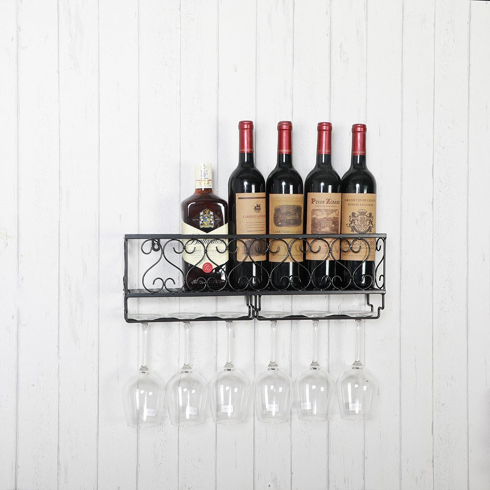HENGHAO Wall Mounted Metal Wine Racks, Bottle & Glass Holder, Home & Kitchen Decor, 6 Bottles, Black (20'') by HENGHAO (Image #3)