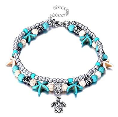 4a86a827d Fesciory Women Starfish Turtle Anklet Multilayer Adjustable Beach Alloy  Ankle Foot Chain Bracelet Boho Beads Jewelry
