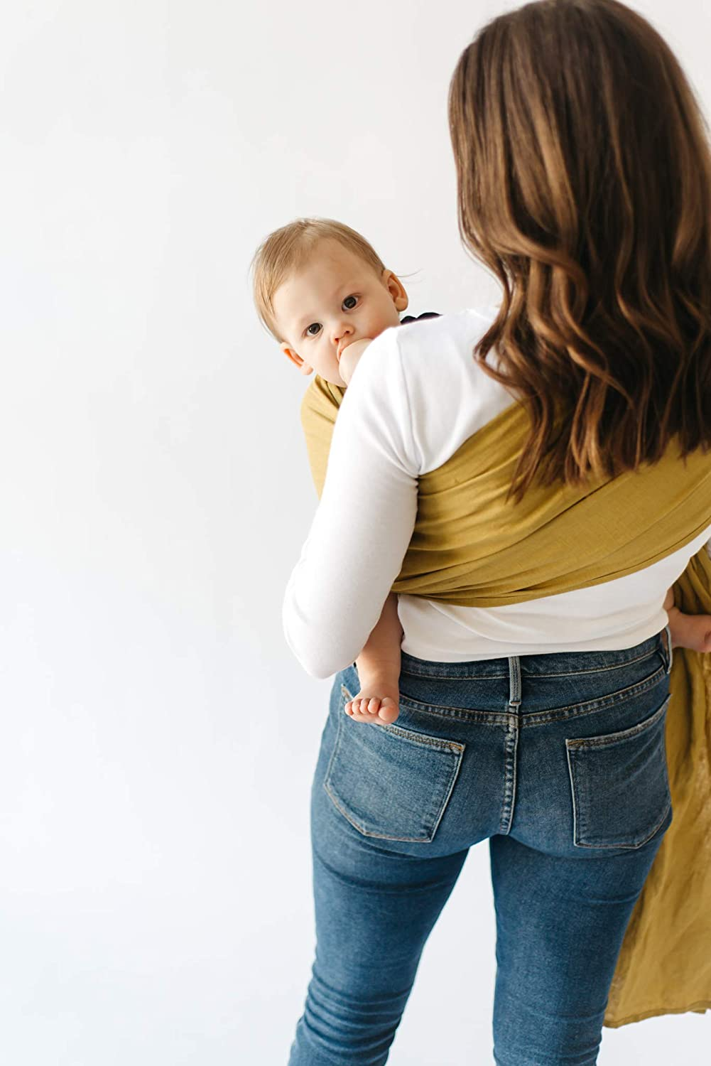 100/% Pre-Washed Linen 80 Inches Long Kyte BABY Ring Slings Holds Babies from 8 to 35lbs Extremely Comfortable with Full Support Evergreen Rose Gold Rings