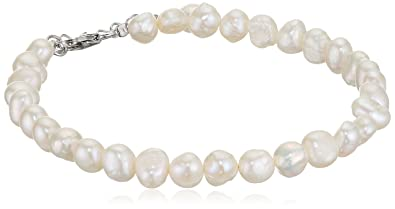 Elements Silver N2507W Ladies' White Freshwater Pearl Single Row Sterling Silver Necklace Length of 41 cm + 5 cm Extender mzwLjqcD