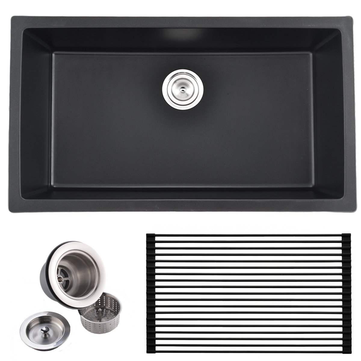 Best Commercial 31 Inch Handmade Single Bowl Undermount Drop in Black Onyx Granite Kitchen Sink, Included Dish Rack and Drain Assembly.
