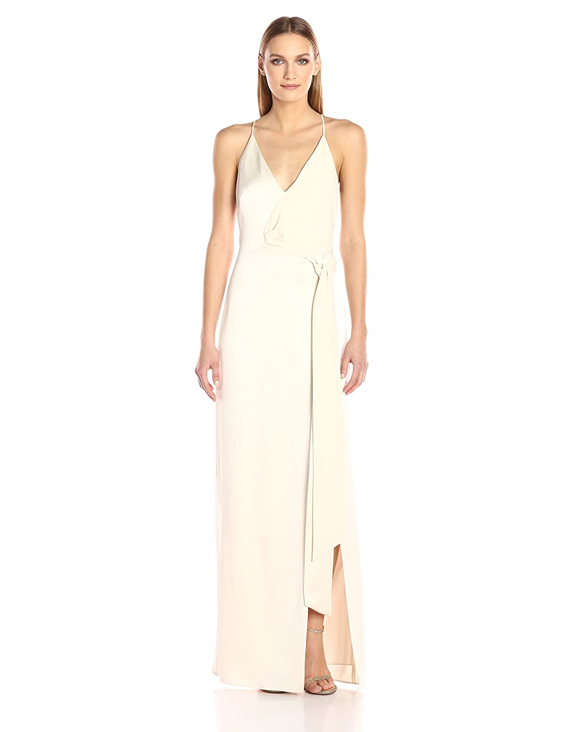 c94018a4176c Halston Heritage Women's Sleeveless V Neck Satin Slip Gown Sash: Amazon.in:  Clothing & Accessories
