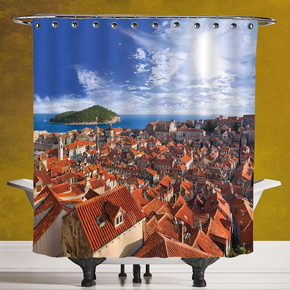 Waterproof Shower Curtain 3.0 [Cityscape,Sunset of Dubrovnik City with the Island Mediterranean Culture Old Town Print Deco,Multi] Machine Washable,Shower Hooks are Included