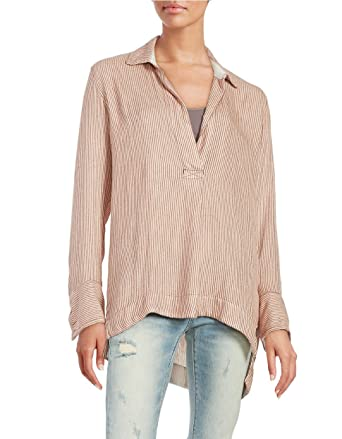 09b94518e8e Free People On the Road Stripe Tunic Shirt Top, Peach Combo, Medium at  Amazon Women's Clothing store: