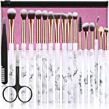 Makeup Brushes DUAIU 16Pcs Premium Synthetic Eyeshadow brushes Eyebrow Eyeliner Blending Marble Handle Brushes sets with Pink