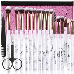 Makeup Brushes ALLFY 16Pcs Premium Synthetic Eyeshadow brushes Eyebrow Eyeliner Blending Marble Handle Brushes sets with Pink Cosmetic Bag Eyebrow Tweezers Nose Scissors