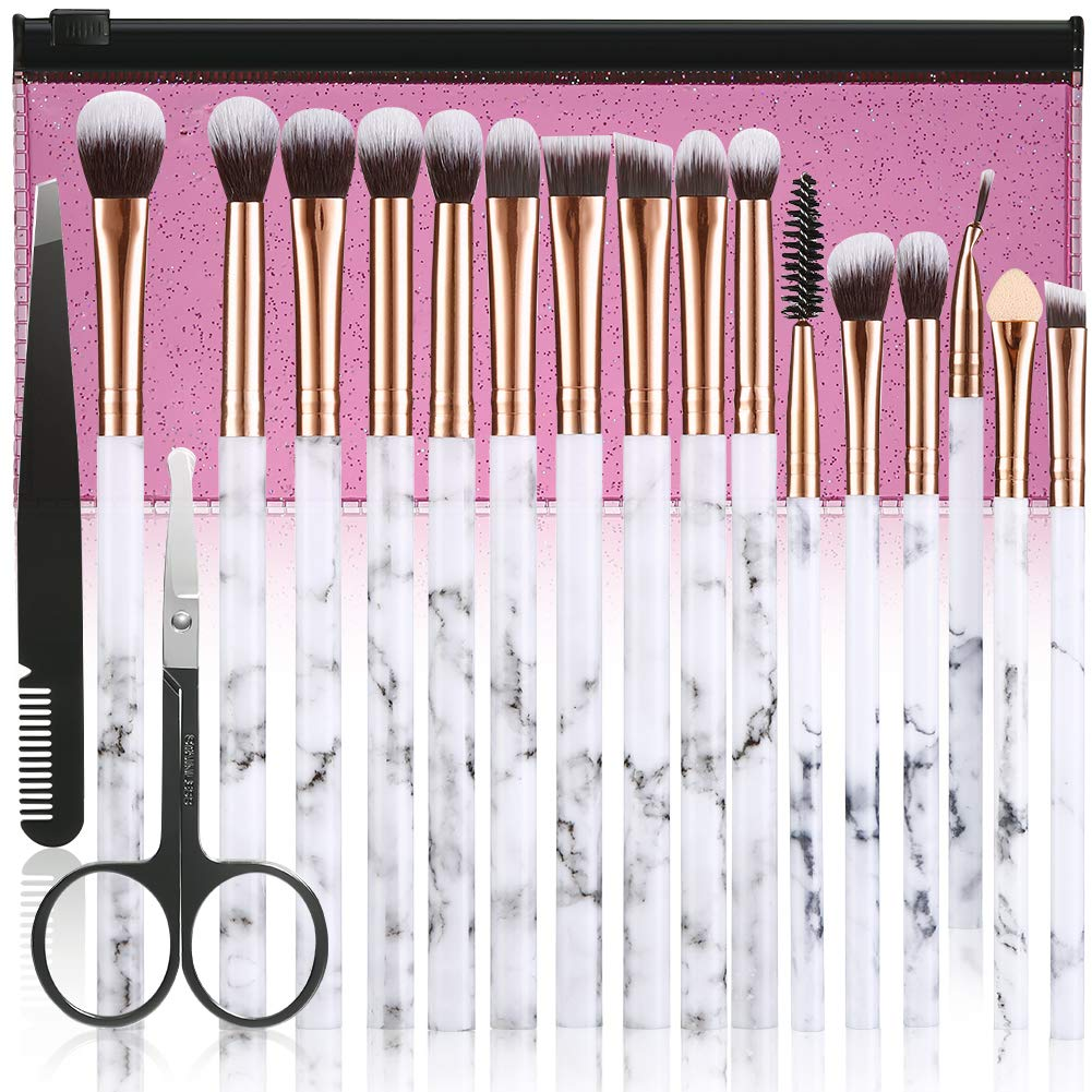 Make Up Brushes DUAIU 16Pcs Premium Synthetic Eyeshadow brushes Eyebrow Eyeliner Blending Marble Handle Brushes sets with Pink Cosmetic Bag Eyebrow Tweezers Nose Scissors