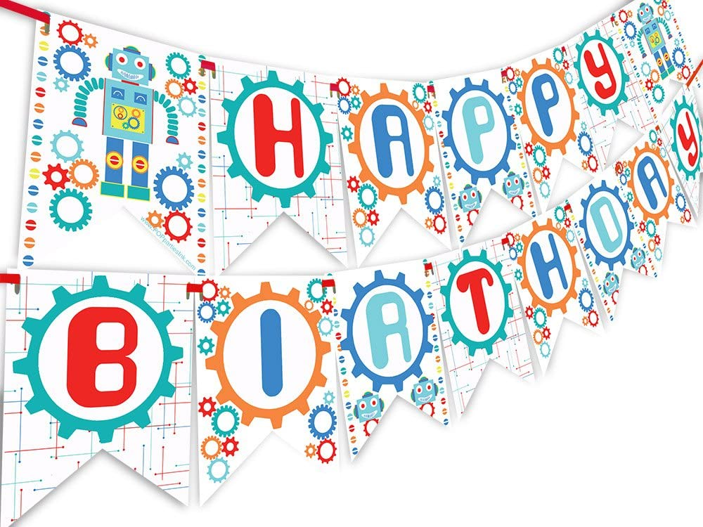POP parties Robot Happy Birthday Banner Pennant - Vintage Robot Party Decorations